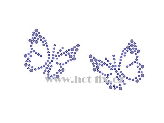 ZM040 2 motýli motýl hot fix nažehlovací aplikace na tričko, textil hot fix kamínky