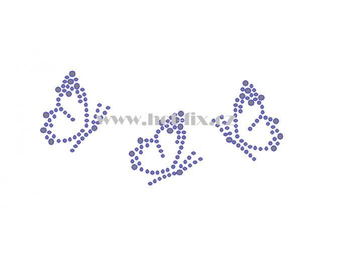 ZM041 3 motýli motýl hot fix nažehlovací aplikace na tričko, textil hot fix kamínky