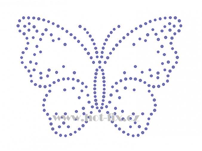 ZM018 motýl hot fix nažehlovací potisk na tričko, textil hot fix kamínky