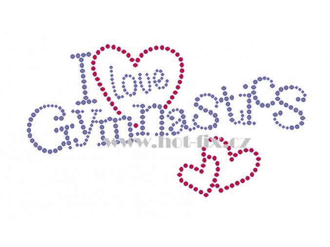 C136 I love gymnastics nažehlovací kamínkový potisk na tričko, textil skleněné hot fix kamínky