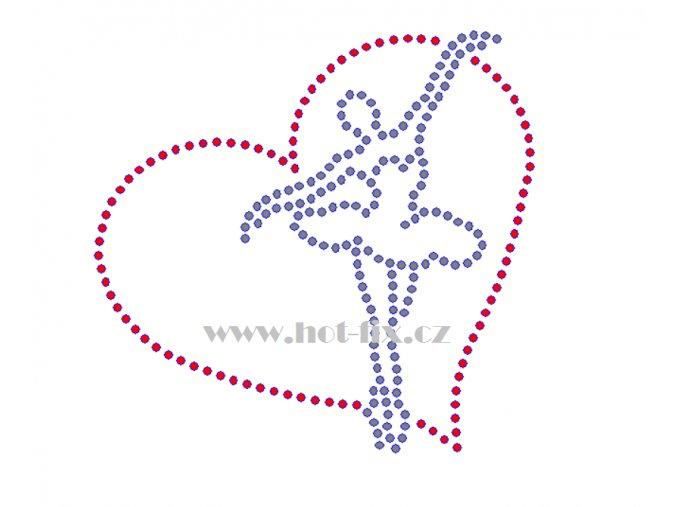 C143 baletka hot fix nažehlovací potisk na tričko, textil pro baletky hot fix kamínky