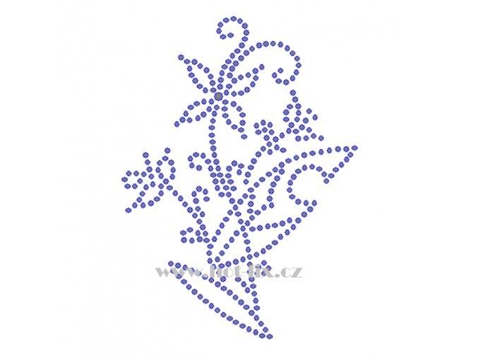 K082 květina nažehlovací potisk květinový motiv na tričko, textil štras hot fix kamínky na textil
