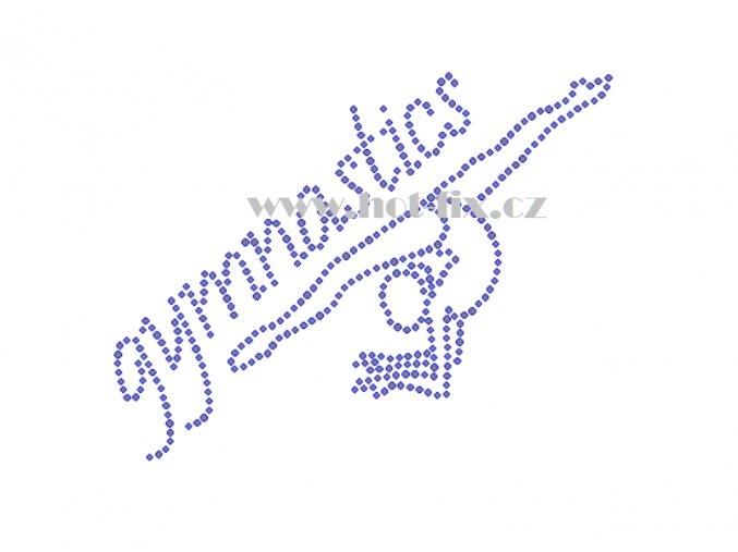 C154 nápis gymnastics a gymnastka hot fix nažehlovací potisk na tričko, textil pro hot fix kamínky