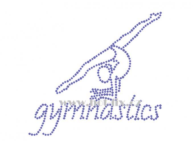 C155 nápis gymnastics a gymnastka hot fix nažehlovací potisk na tričko, textil pro hot fix kamínky