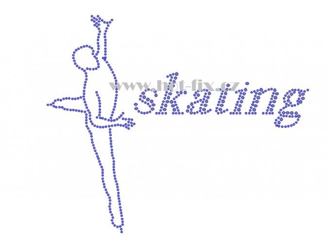C162 krasobruslař a nápis skating nažehlovací kamínkový potisk na tričko, textil skleněné hot fix kamínky