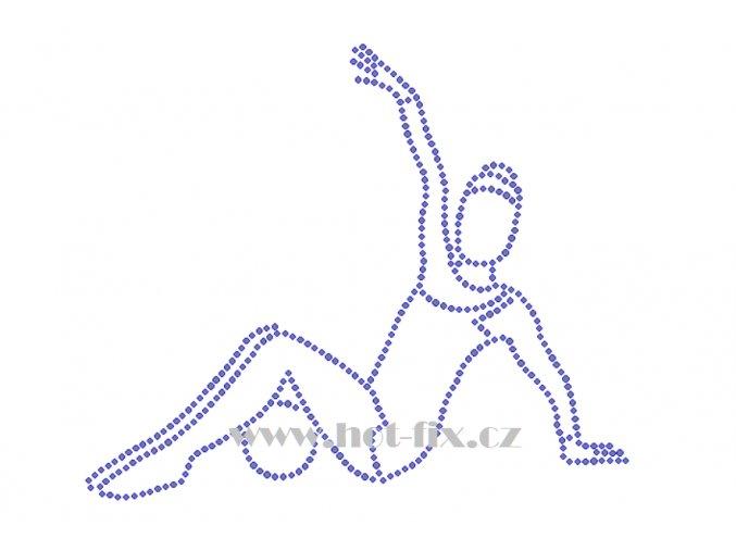 C165 gymnastka s míčem nažehlovací kamínkový potisk na tričko, textil skleněné hot fix kamínky