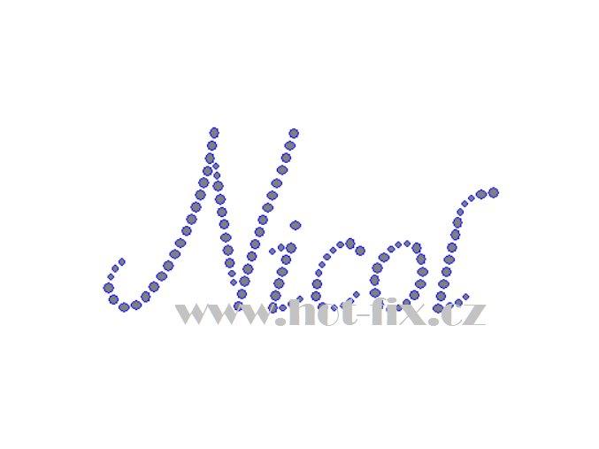 Nicol jméno nažehlovací aplikace nažehlovací kamínkový potisk na textil hot fix kameny