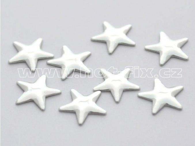 hvězda 10mm stříbrná hot fix kovové kameny na textil