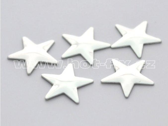 hvězda 13mm stříbrná hot fix kovové kameny na textil