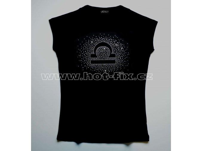07 Váhy tričko znamení zvěrokruhu znamení Váhy hot fix kamínky rozptyl