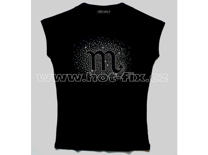 08 Štír tričko znamení zvěrokruhu znamení štír hot fix kamínky rozptyl