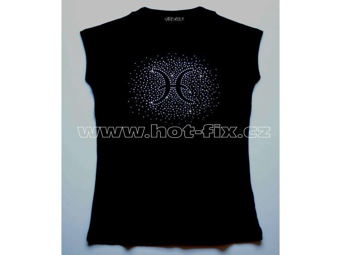 12 Ryby dámské tričko s kamínky znamení zvěrokruhu, znamení Ryby hot fix kameny rozptyl