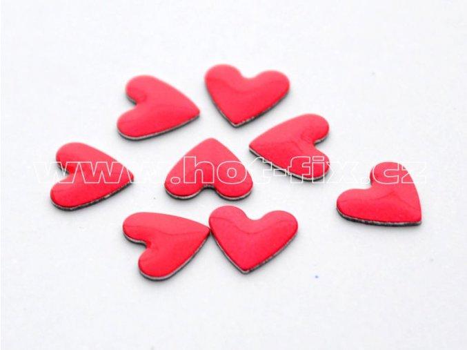 srdce 6x6mm červená hot fixn kovové kameny na textil