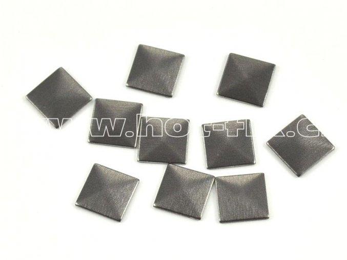 čtverec pyramida 7x7mm bronz mat tmavý kovové hot fix kamínky na textil