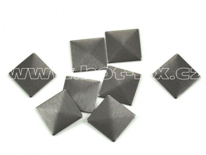 čtverec pyramida 10x10mm bronz mat tmavý kovové hot fix kamínky na textil
