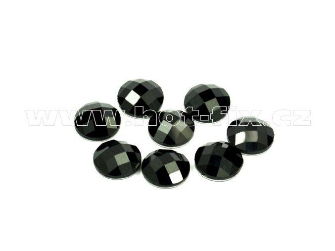 tvarové epoxy hot fix kameny na textil kulaté 12 mm barva černá