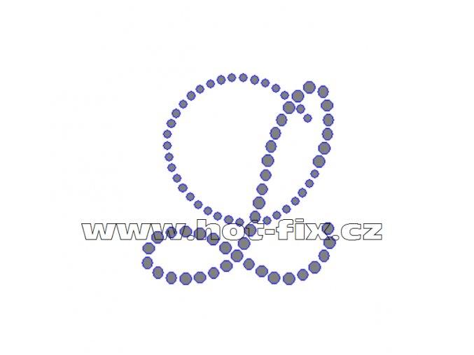 FM001 L monogram písmeno L nažehlovací kamínkový potisk na textil hot fix kameny