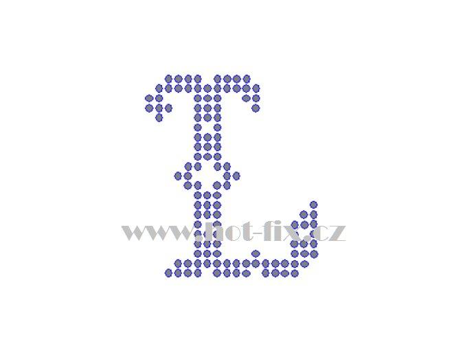 FM005 L monogram písmeno L nažehlovací kamínková aplikace na textil hot fix kamínky
