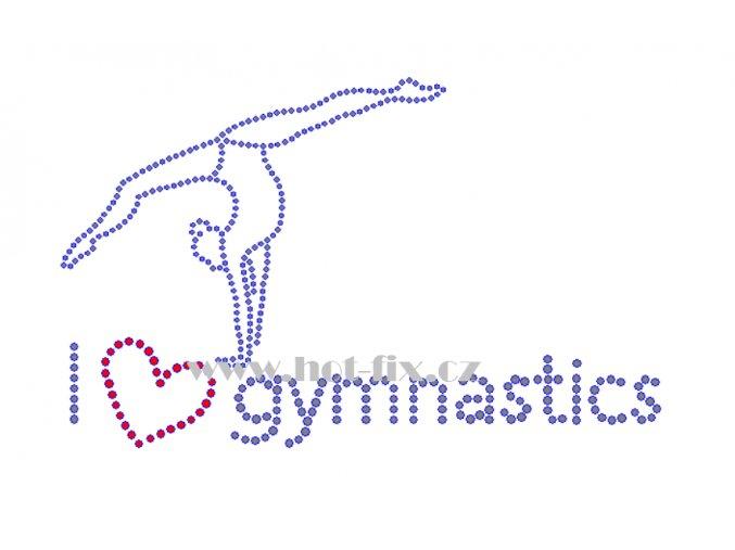 C169 I love gymnastics hot fix nažehlovací potisk na tričko, textil hot fix kamínky