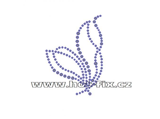 A005-L - hot-fix kamínková aplikace na textil abstraktní vzor, rozměry cca 5,4x7,5cm