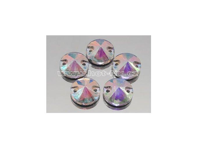 našívací kámen kulatý 14mm skleněný broušený barva 201 AB Crystal/ duhový efekt, balení 1ks, 10ks, 50ks