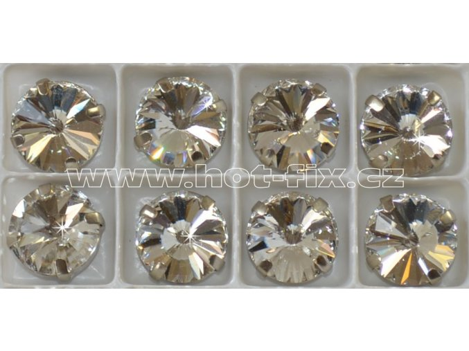 našívací kámen na textil v kotlíku kulatý 14mm barva stříbrná Crystal.jpgB