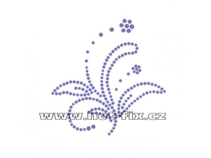 A020 - abstraktní květina hot-fix kamínkový potisk na textil, rozměry cca 8,6x8,6cm