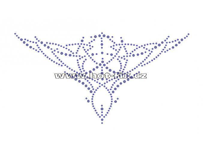 A022 - nažehlovací hot-fix kamínkový motiv výstřih, rozměry cca 21,5x11,3cm