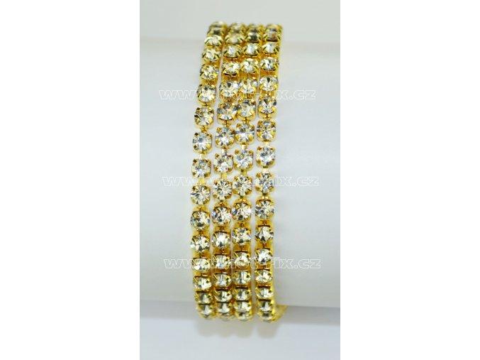 našívací kamínkový řetěz kovový zlatý, typ A velikost kamenů SS16, barva kamenů 101 Crystal stříbrná