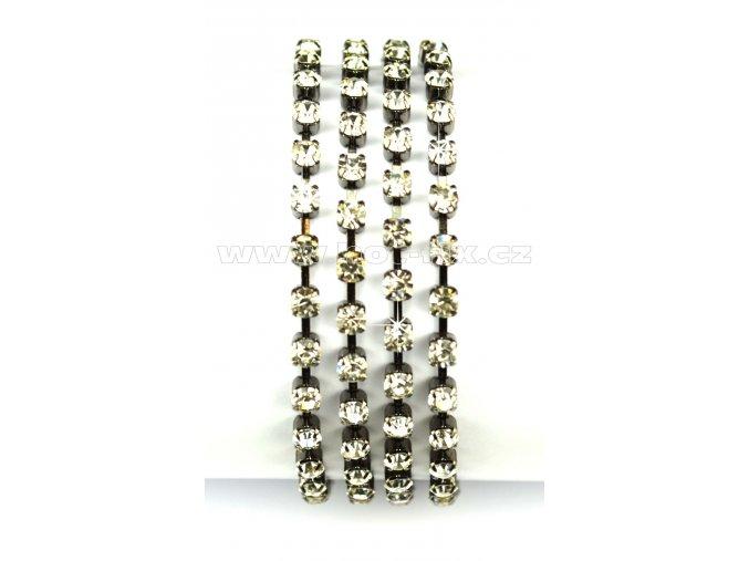 našívací kamínkový řetěz kovový šedý, typ A velikost kamenů SS16, barva kamenů 101 Crystal stříbrná