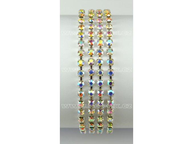 našívací kamínkový řetěz kovový stříbrný, typ A velikost kamenů SS12, barva kamenů 201 AB Crystal