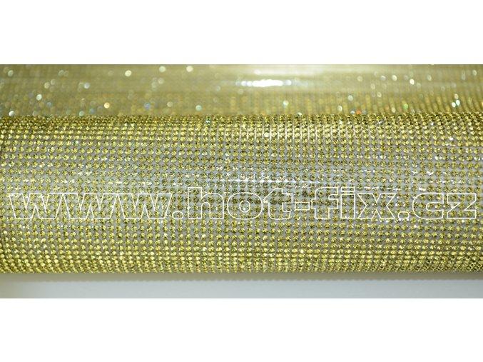 kamínková nažehlovací folie na textil hot fix kameny barva zlatá Jonguil velikost SS8