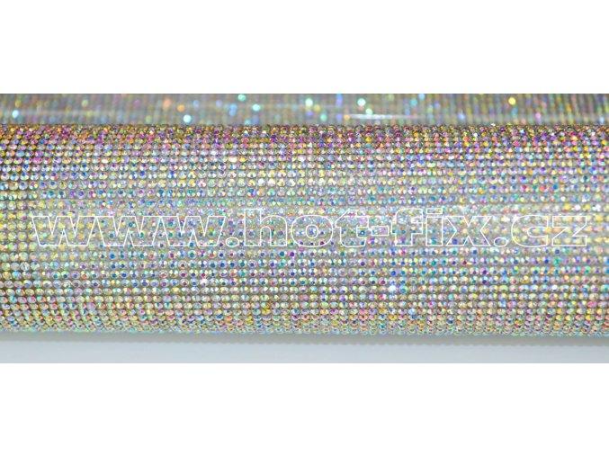 kamínková nažehlovací folie na textil hot fix kameny barva duhový efekt AB Crystal velikost SS8