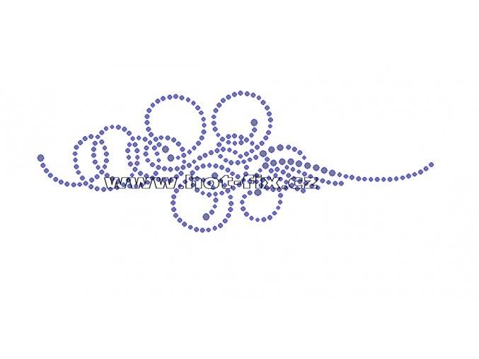 A033 - abstraktní motiv uzel hot-fix kamínkový potisk na textil, rozměry cca 17,5x6,2cm