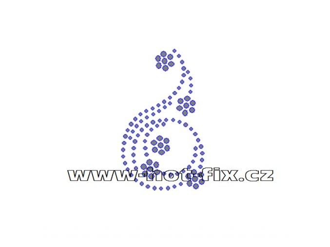 A038 - abstrakt hot-fix kamínkový potisk na textil, rozměry cca 4,2x7,2cm
