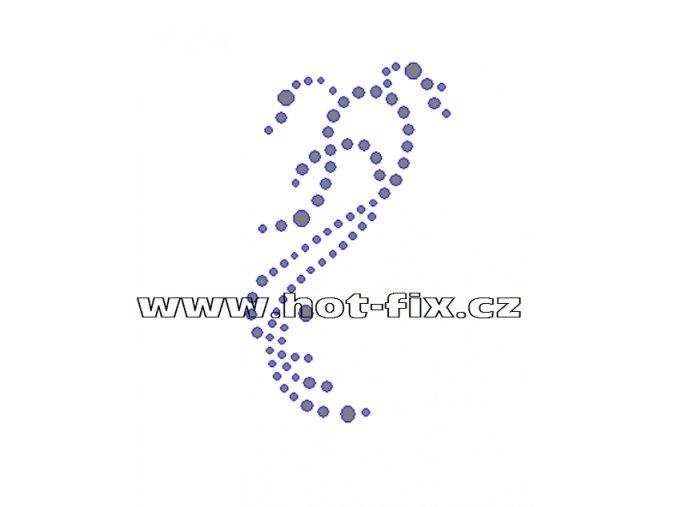 A043 - hot-fix kamínkový potisk na textil abstraktní motiv, rozměry cca 5,0x8,8cm
