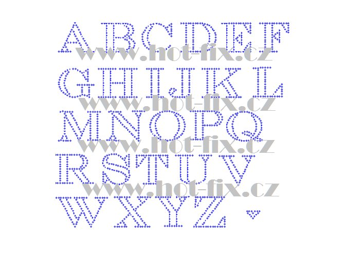 F020 písmena abeceda fonty písma nažehlovací kamínkový potisk na tričko, textil hot fix kameny