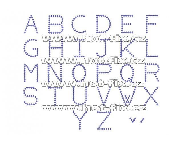 F001 nažehlovací kamínkový potisk na tričko, textil písmena abecedy monogram hot fix kameny