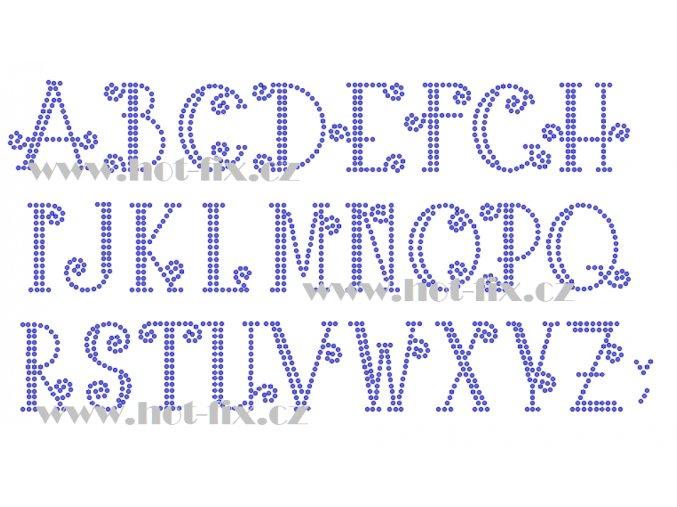 F017 písmena abeceda fonty písma nažehlovací kamínkový potisk na tričko, textil hot fix kameny