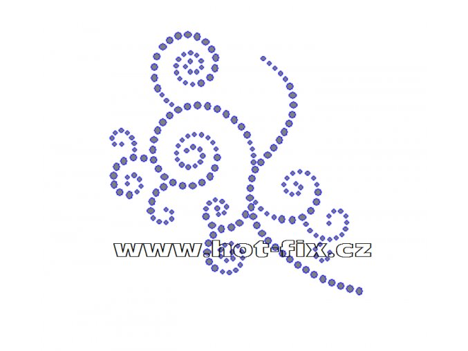 A067 - abstraktní květinový motiv nažehlovací hot-fix kamínkový potisk na textil, rozměry cca 10,1x10,5cm