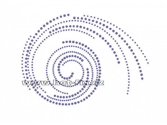 A075 - abstrakt spirála nažehlovací hot-fix kamínková aplikace na textil, rozměry cca 17,6x12,7cm