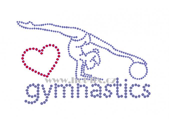 C177 I love gymnastics hot fix nažehlovací kamínková aplikace na tričko, textil hot fix kamínky