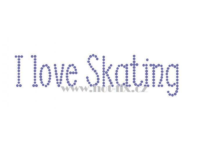 C185 I love skating nažehlovací kamínková aplikace na tričko, textil skleněné hot fix kamínky