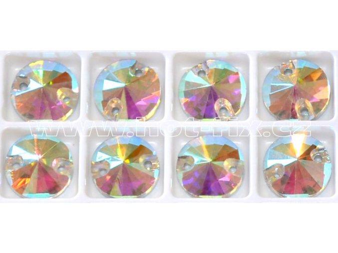 našívací kameny kulaté 10mm barva duhová AB Crystal