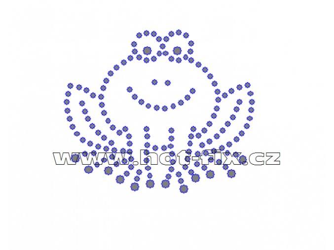 D012 - nažehlovací potisk z hot-fix kamenů žabka, rozm. cca 6,6x5,7cm