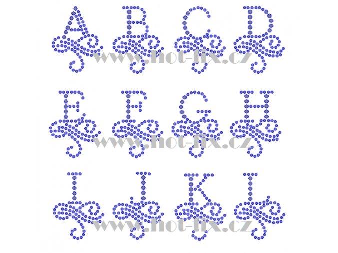 FM003 A L monogramy písmena abecedy nažehlovací hot fix kamínkový potisk na textil