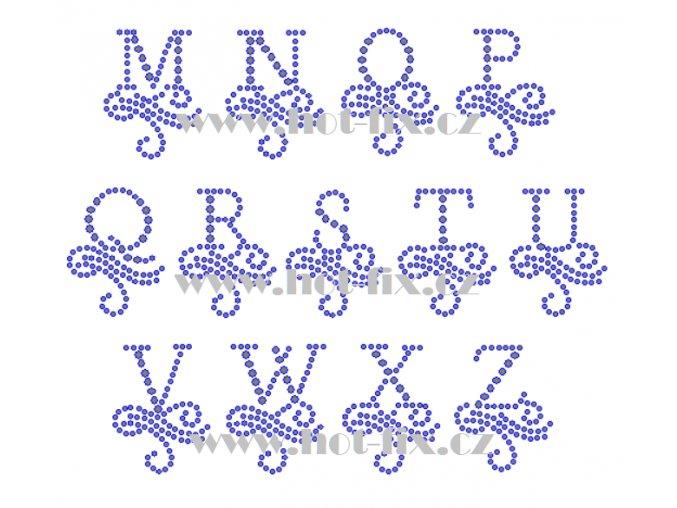FM003 M Z monogramy písmena abecedy nažehlovací hot fix kamínkový potisk na textil