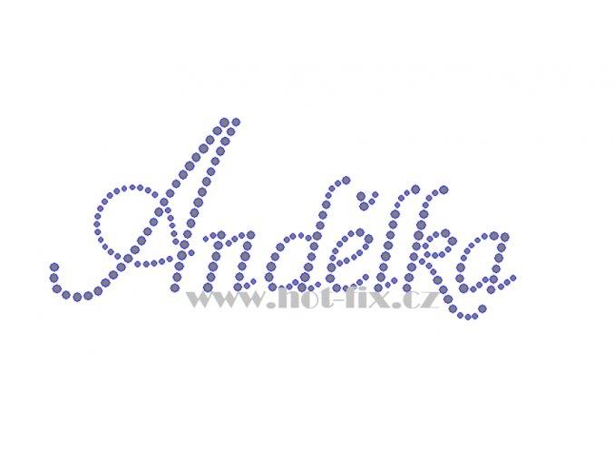 Andělka jméno nažehlovací potisk nažehlovací kamínkový aplikace na textil hot fix kameny