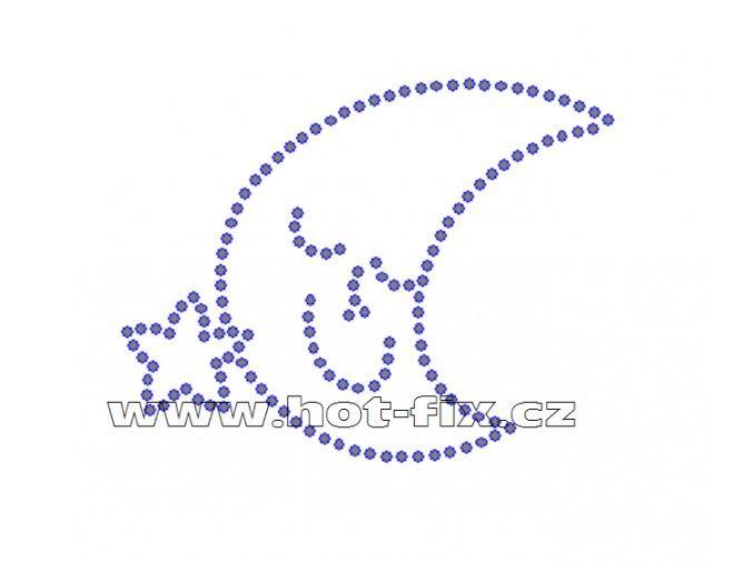 D018 - nažehlovací potisk z hot-fix kamenů spící měsíc, rozměry cca 8,3x6,5cm