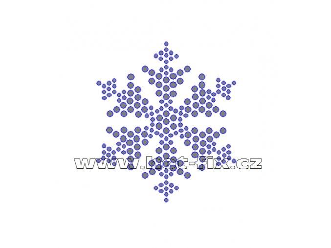 SV055 sněhová vločka nažehlovací potisk na tričko, textil hot fix kameny